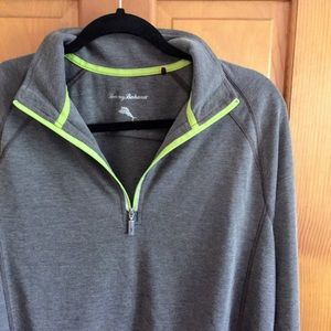 Tommy Bahama Men's 1/2 zip tan sports shirt